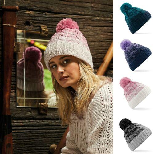 Cable Knit Beanie Chunky hiver chaud Laineux Pompon Ski Chapeau Hommes Femmes Mesdames