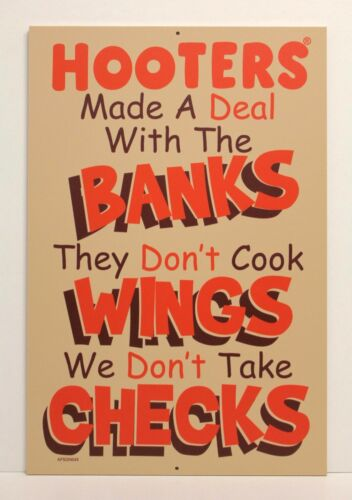 """Bar Restaurant /"""" HOOTERS DEAL W// BANKS ON WINGS /& CHECKS /"""" 18/"""" X 12/"""" Wood Sign"""