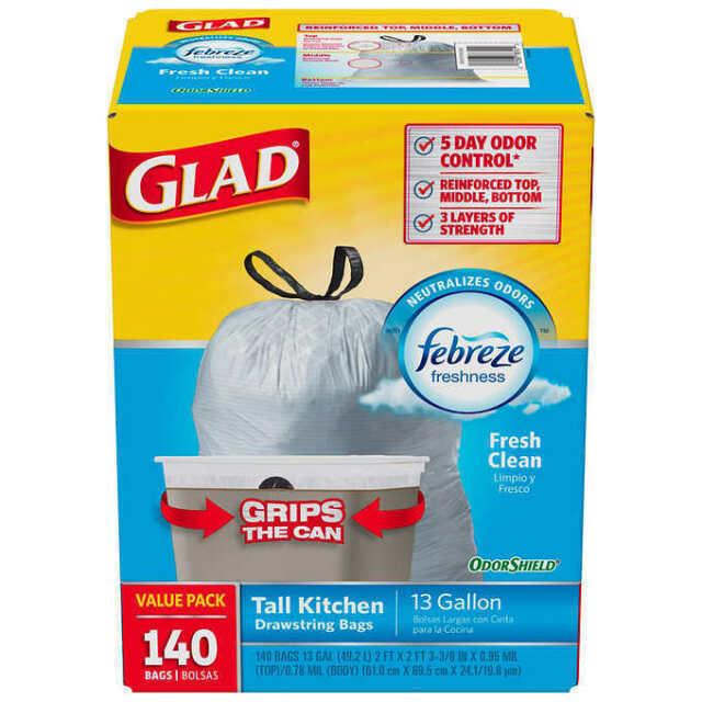 Glad OdorShield 13 Gallon Trash Bags with Febreze scent 140 count