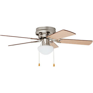 Ceiling Fan With Light Low Profile 42 Quot Flush Mount Frosted Glass Nickel Color 617576006253 Ebay