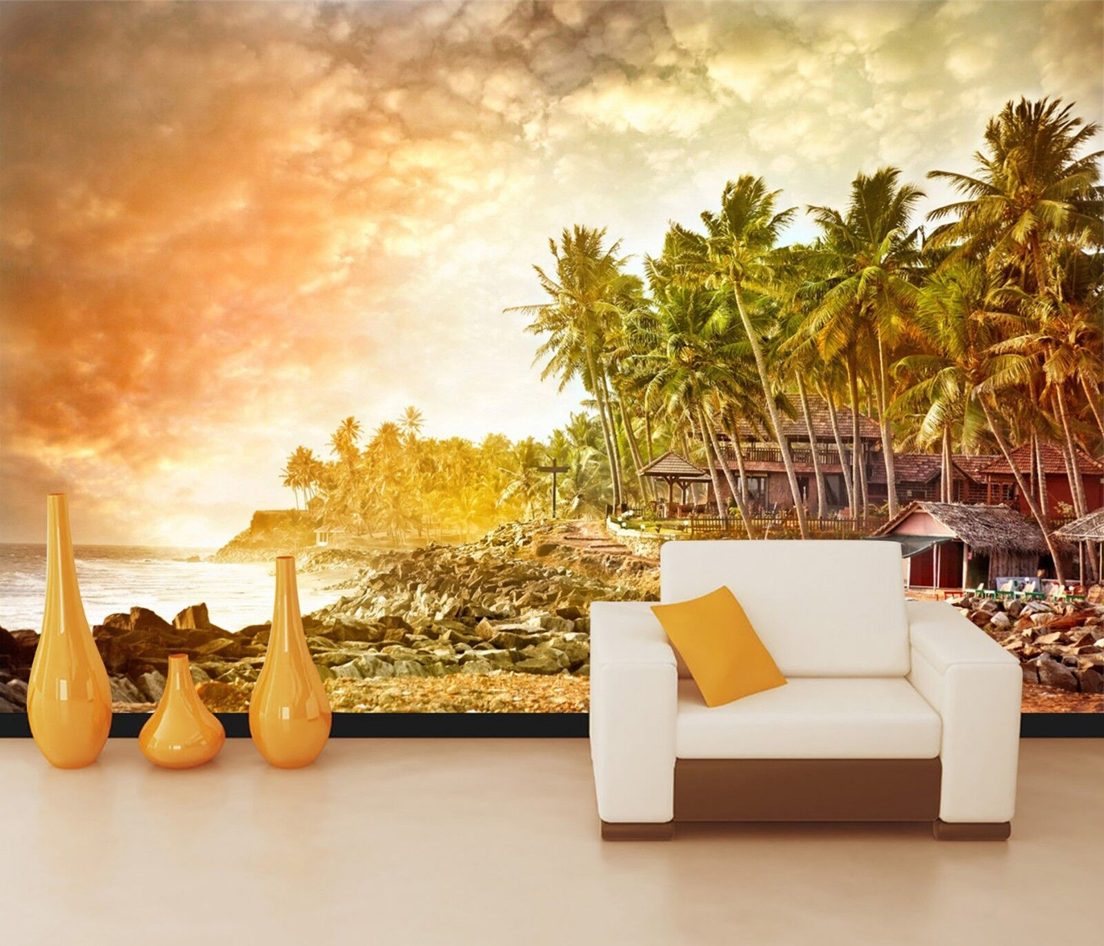 3D Sunset Palm tree Wall Paper Print Decal Wall Deco Indoor wall Mural