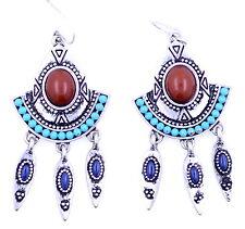 Vintage dream catcher style peacock eye feather chandelier earrings