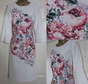 Nouveau-Laura-Ashley-95-Floral-Tea-Shift-Occasion-Robe-Ivoire-Rose-Mariage-sz-8-20