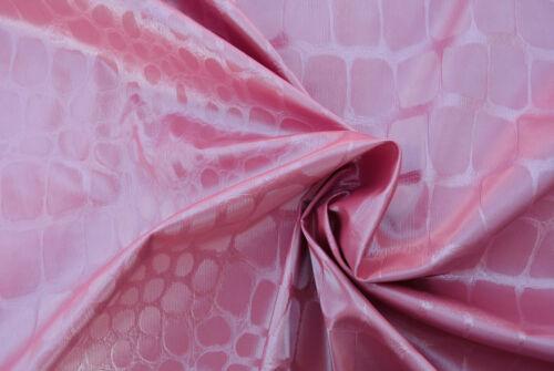 Rosa Imitación Piel De Cocodrilo visualmente impresionante tela única hecha en Italia D48