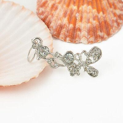 1PC rhinestone Crystal butterfly Flower Ear Cuff Stud Earring dangler eardrop HS
