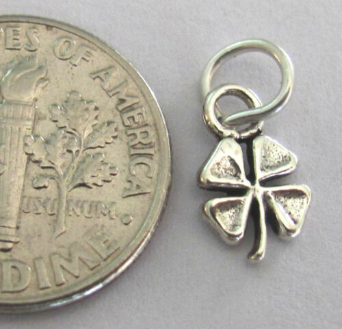Small Sterling Silver lucky 4 leaf clover miniature charm.