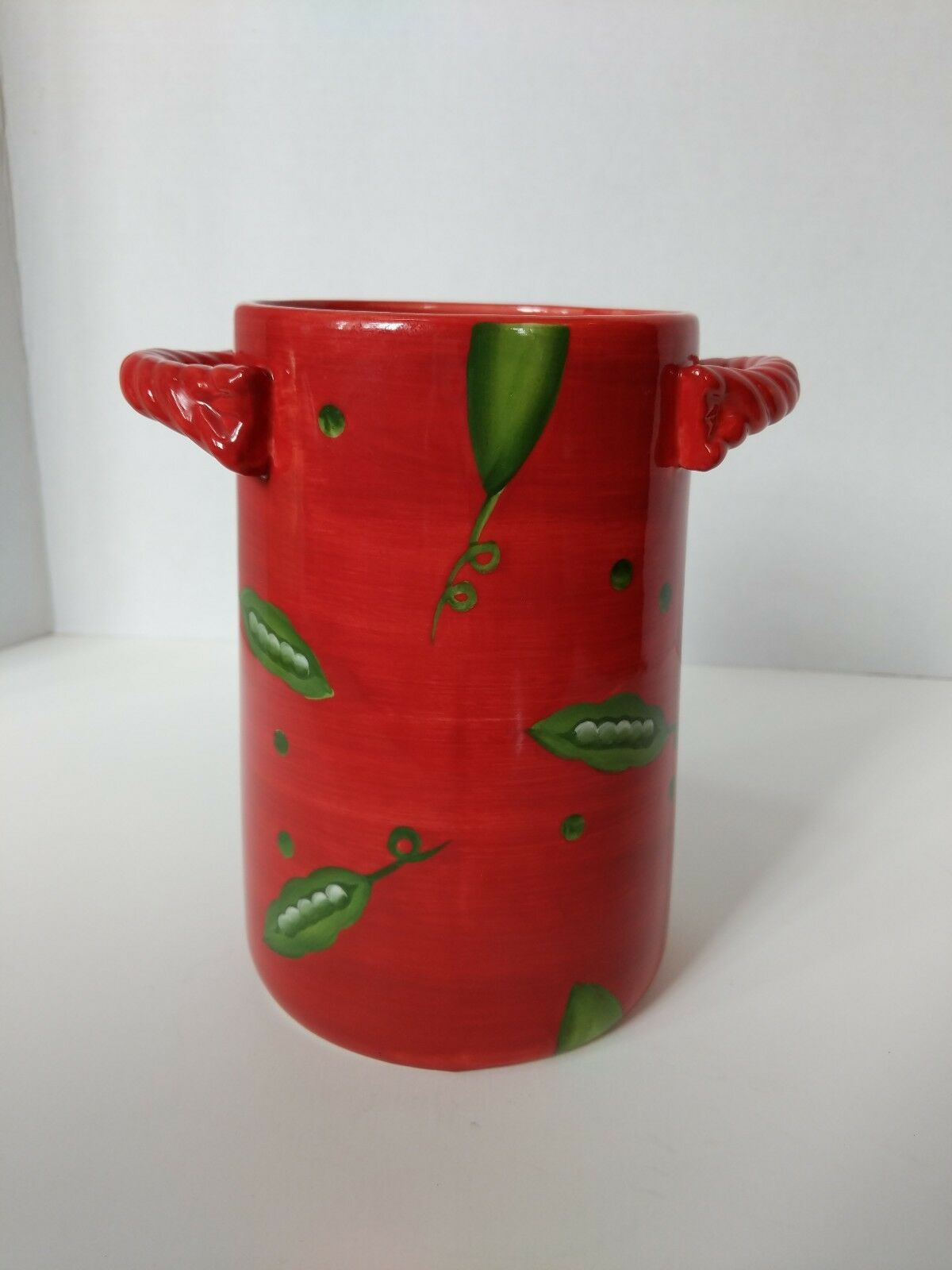 Foreside Red Ceramic Kitchen Canister Rope Handles Pitcher Vase Green Peas