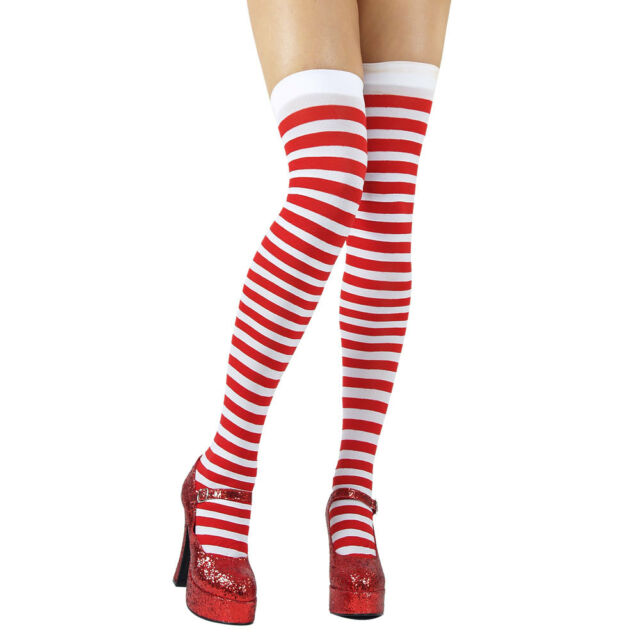 7e8f5554e03 Ladies Red   White Candy Stripe Thigh Highs Stockings Fancy Dress up ...