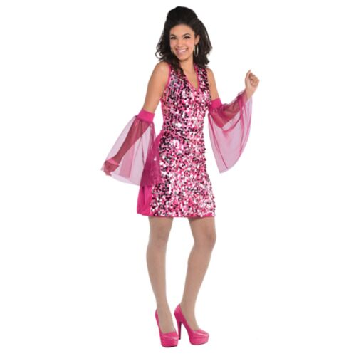 Boogie Down 70s Disco Groovy Pink Ladies Womens Adults Fancy Dress Costume