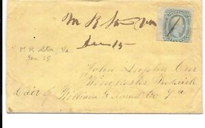 CONFEDERATE MANUSCRIPT POSTMARK M R STation? Va JAN 15 ON COVER TO WINCHESTER.