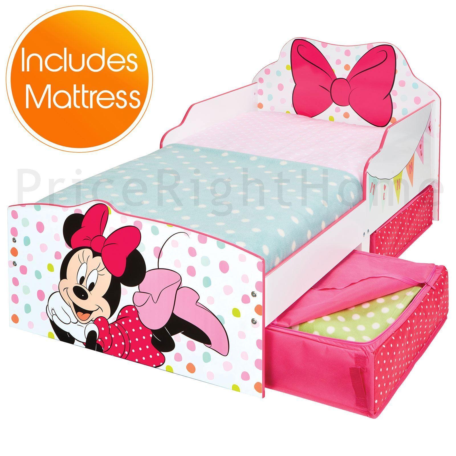 Minnie Mouse Bébé Lit avec rangement Junior Filles + Deluxe Matelas en mousse