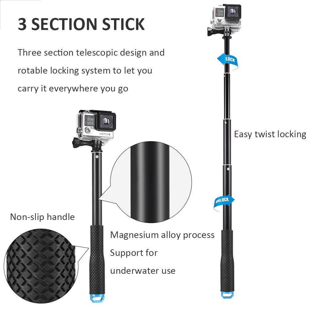 """37""""Waterproof Extension Pole Selfie Stick for Gopro hero HD 5 4 3+ 3 SJCAM EKEN 9"""