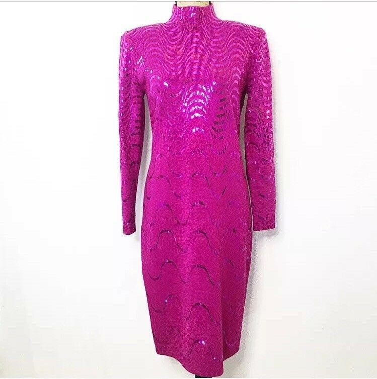 St. John Embellished Knit Dress 6 M Pink Wool Metallic Sequin Long Sleeve