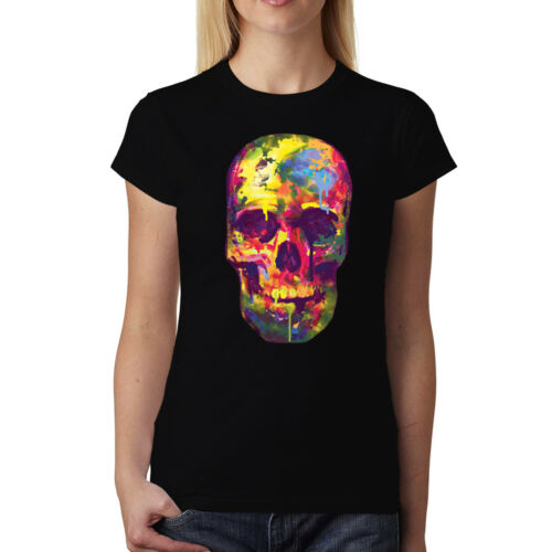 Painted Skull Funny Colourful Women T-shirt XS-3XL New