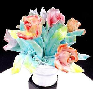 Italiano-Porcelana-Rosa-Rojo-y-Azul-21-6cm-Flores-en-Cesta