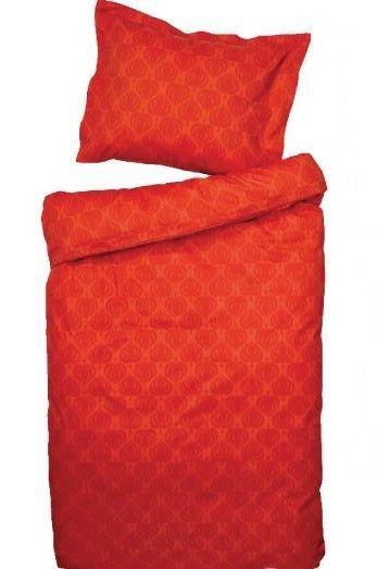 Bedroom Queen Duvet RED-orange Cover Set, 100% Cotton Satin, NEW SEALED