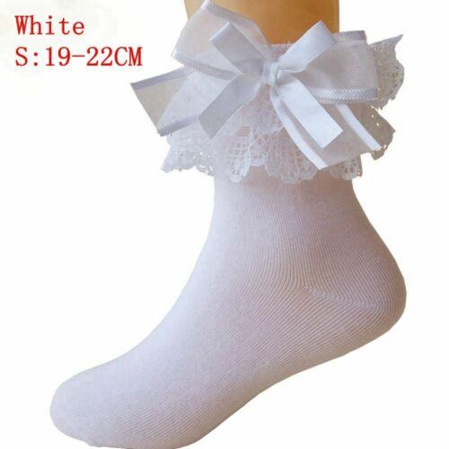 Lovely Baby Girls Short Sweet Lace Frilly Ruffle Big Bow Princess Socks Cotton
