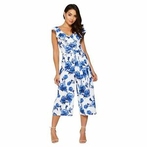 25c54b152b35 NEW Quiz Blue and white Floral Jumpsuit Culotte Gorgeous RRP £30 8 ...