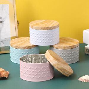 Runde leere Eisenbox mit Holzmaserung Deckel Candy Aufbewahrungsbox Diy CandlXUI