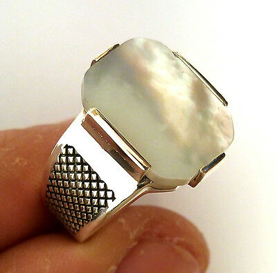 Turkish 925 Solid Silver MOP Stone Men's Ring Sz 12.5 us #0572 free resize
