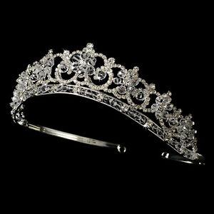 CLOSEOUT $ Rhinestone Flower Bridal Sweet 16 Tiara Crown Wedding Headpiece