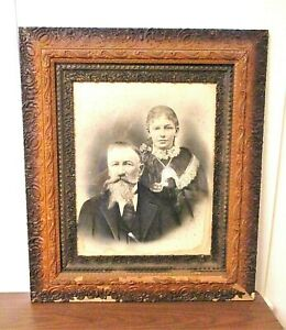 Antique-1850-1900-Victorian-Wood-amp-Gesso-Picture-Frame-With-Charcoal-Portrait