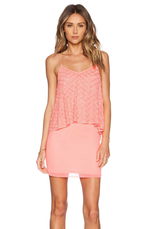 Needle & Thread Tiered Geo Sequin Popover Dress Bright Pink US 14