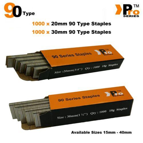 30 mm 90 Type agrafes Mélange de 2000 Brads Handy Pack Taille 20 mm