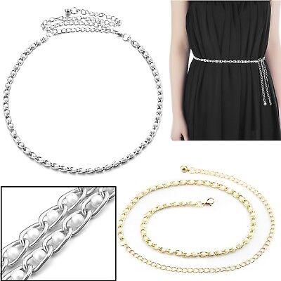 One Size Adjustable Waist Chain Charm Belt Ladies 4 Row Silver Diamante Belt