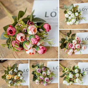 3fc1 Silk Flower Silk Fake Flowers Cute Floral Decor Wedding Bouquet