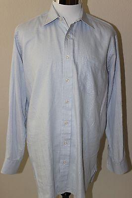 ROBERT TALBOTT Men's Long Sleeve Shirt Plaids Blue White Sz 15.5 / M EUC