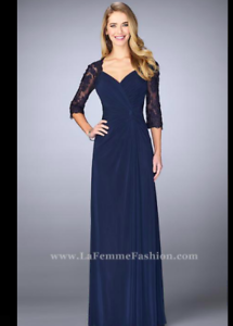 ccc4ebeb92a Image is loading La-Femme-Lace-amp-Net-Ruched-Twist-Front-
