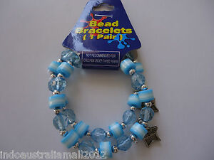 1 Pair of Girls Jewellery Stretchable Bracelets with Sky Blue Plastic Beads