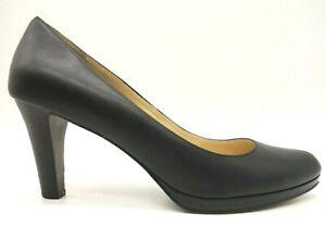 Cole-Haan-Air-Black-Leather-Slip-On-Block-Heels-Dress-Shoes-Women-039-s-10-B