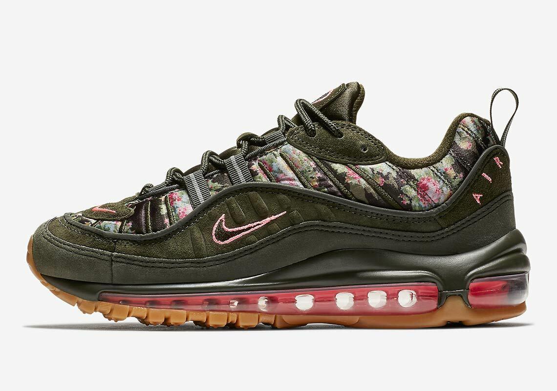 New Nike W Air Max 98 Size 6 AQ6468-300 Sequoia Metallic Black