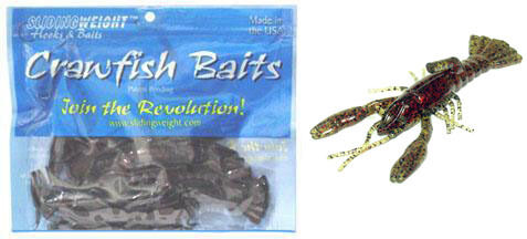 "SLIDING WEIGHT 4/"" CRAWFISH YABBIE LURES WATERMELON SEED RED"