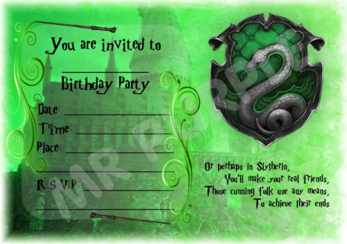 HARRY POTTER SLYTHERIN FRAME INVITES A5 KIDS CHILDRENS PARTY INVITATIONS X 12