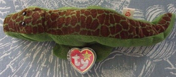 Ally the Alligator Original TY Beanie Baby DOB 3-14-94 PVC Pellets with Errors