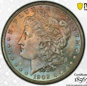 1902-O-MORGAN-SILVER-DOLLAR-PCGS-MS64-BU-UNC-TONED-RAINBOW-COLOR-GEM-DR