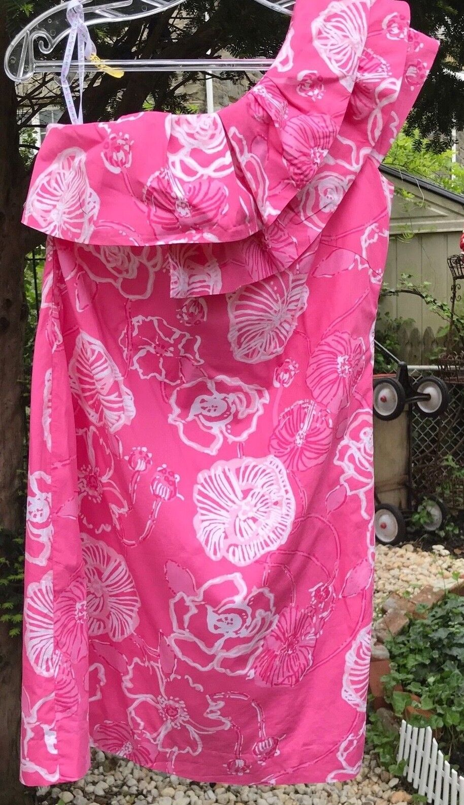 Lilly Pulitzer Dress Pink White Floral Print One Sleeve  Lined Cotton 2