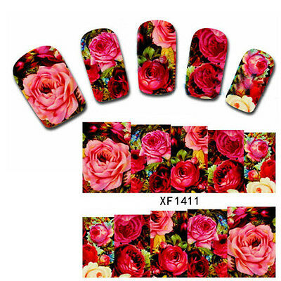 Nail Water Decals Transfer Sticker Chinese Rose Flower Pattern XF1411