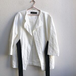 cfc99fef NWT ZARA Large LONG JACQUARD TEXTURED BLAZER jacket Sash Belt Cotton ...