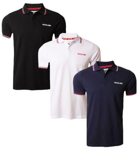 Nickelson Casual Cotone Polo Piqué T-Shirt Top Retrò Nuovo Nero Bianco Blu