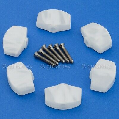 WHITE PEARLOID NEW 6 LARGE Buttons For SCHALLER Tuning Key Tuners M6 Mini