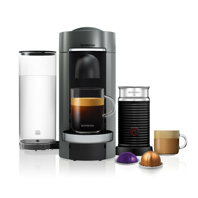Nespresso Vertuo Plus Deluxe Titan Flat Top Coffee Machine & Aeroccino3 Frother