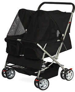 Pet-Stroller-Cat-Dog-4-Wheel-DOUBLE-TWIN-Walk-Travel-Folding-Carrier
