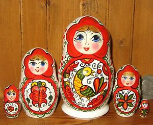 Russian-nesting-doll-small-MATT-5-Severodvinsk-North-Dvina-style-Babushka-signed