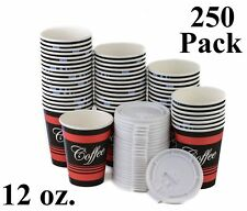 250 Pack 12 Oz Disposable Poly Paper Hot Tea Coffee Cups With Flat White Lids