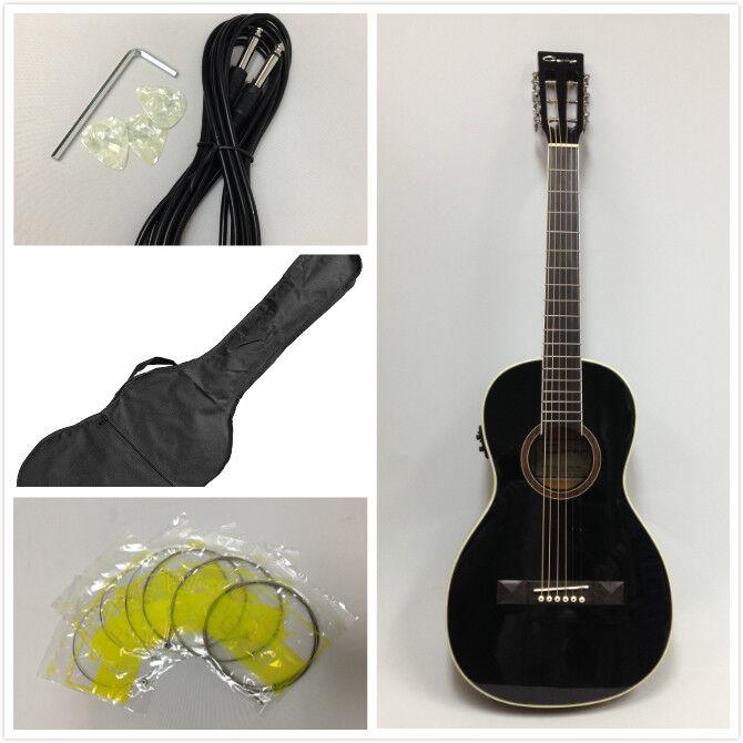 Caraya Parlor Guitar Ebony 590BK with EQ  + Free Gig Bag, Extra String Set