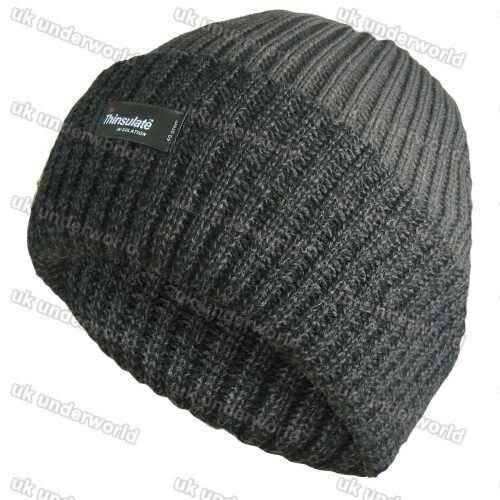 3m Thinsulate thermique pour homme doublé Beanie Hat isolé à grosses mailles chiné tourner jusqu/'